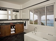 Blue Bedroom Bathroom suite at St Lucia's Luxury Holiday Villa Rental with Twin Shower