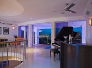 1974 Yamaha piano at St Lucia's Best Holiday Villa on Entertainment level with Views over Rodney Bay