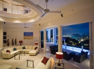 View From Dining Area at St Lucia's Best Holiday Villa Rental Towards Sunken Living Area and Rodney Bay at Night