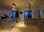 View of Gourmet Kitchen at St Lucia's Best Holiday Villa Rental Towards Dining Terrace